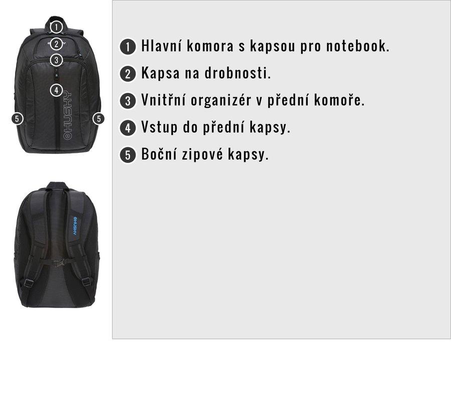 Černý městský batoh Slander 28l, Husky - objem 28 l