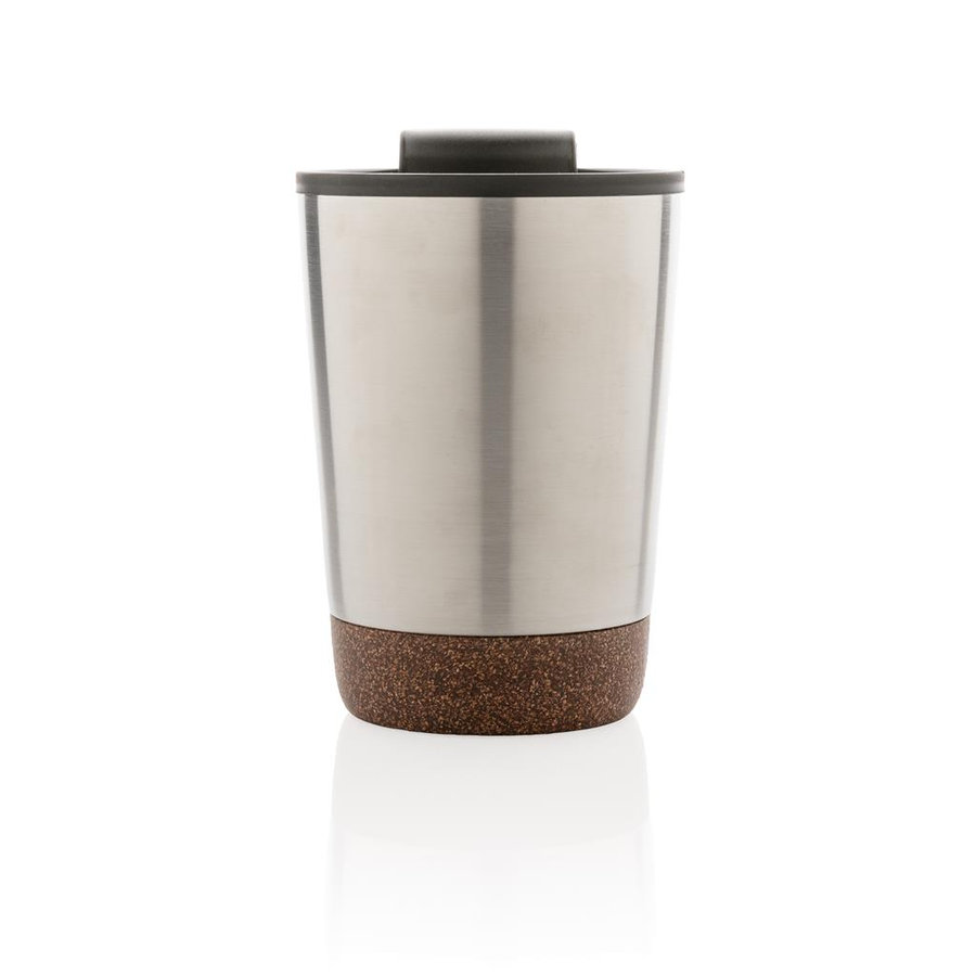 Stříbrný hrnek termo Cork, XD Design - objem 300 ml