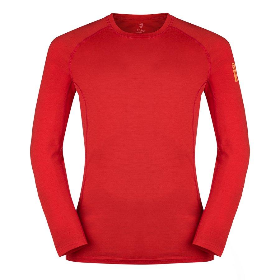 Červené merino pánské tričko Bjorn Merino Tshirt LS, Zajo