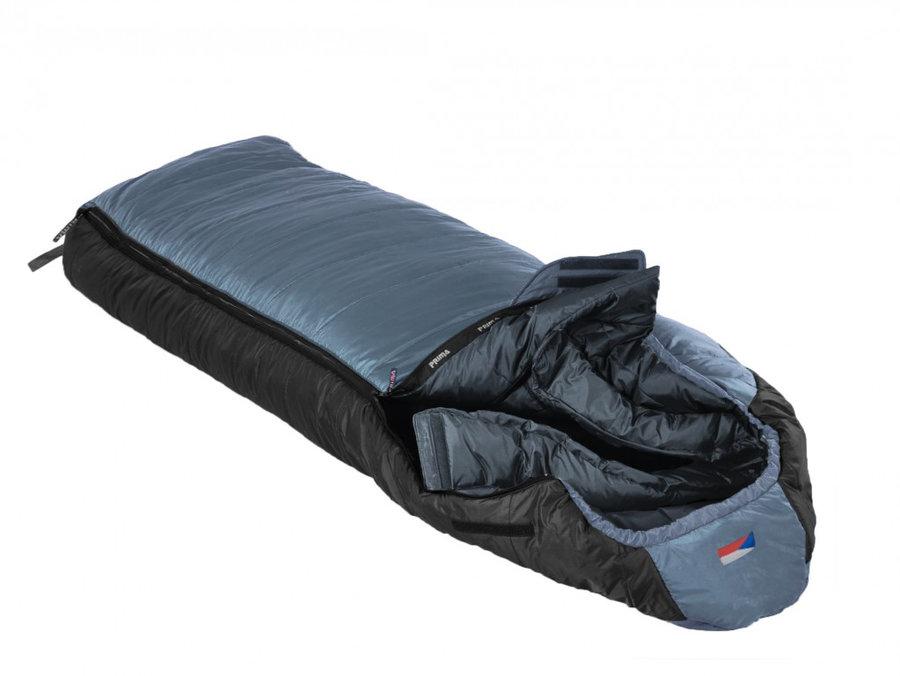 Šedý třísezónní spacák s levým zipem MAKALU 230 Comfortable, Prima - délka 230 cm