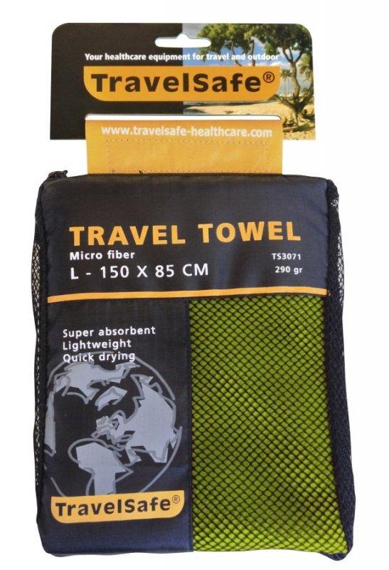 Zelený rychleschnoucí ručník Microfiber Towel, TravelSafe - velikost L a 150x85 cm