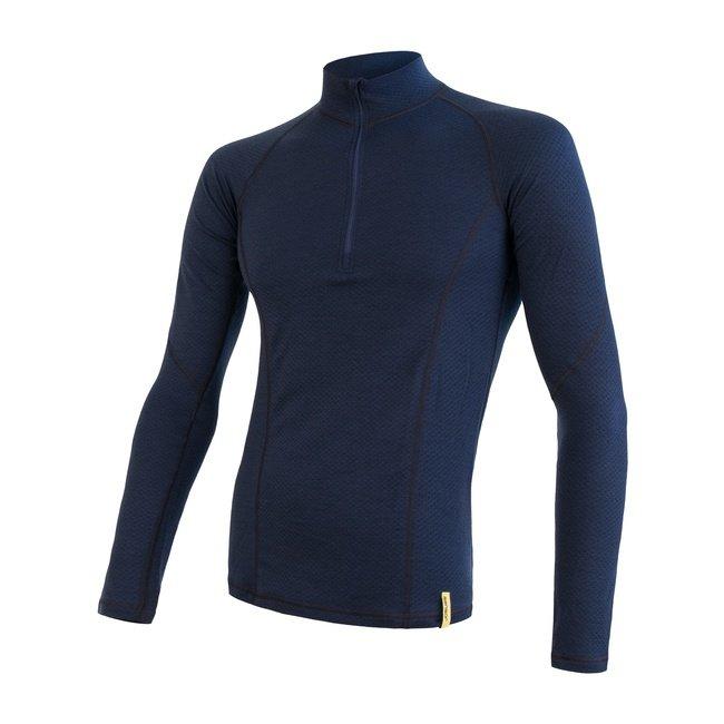 Modré merino pánské tričko MERINO DOUBLE FACE, Sensor - velikost XL