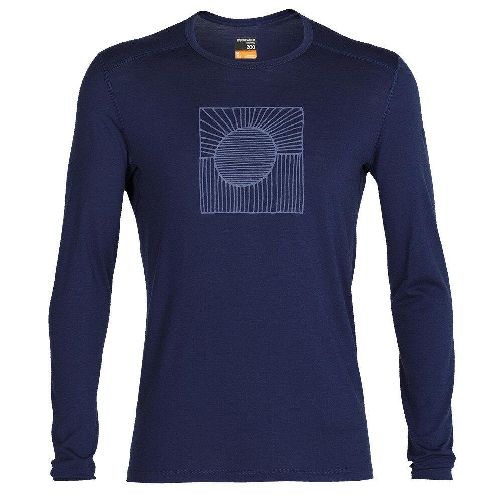 Merino pánské tričko Icebreaker 200 Oasis LS Crewe Solar - velikost XL