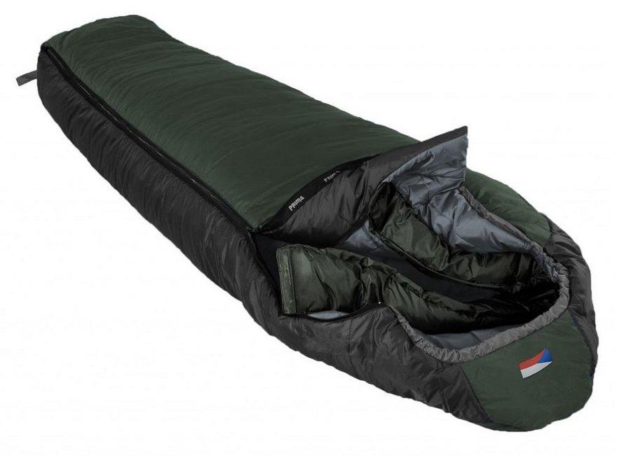 Zelený zimní spacák s pravým zipem EVEREST 200/90, Prima - délka 200 cm