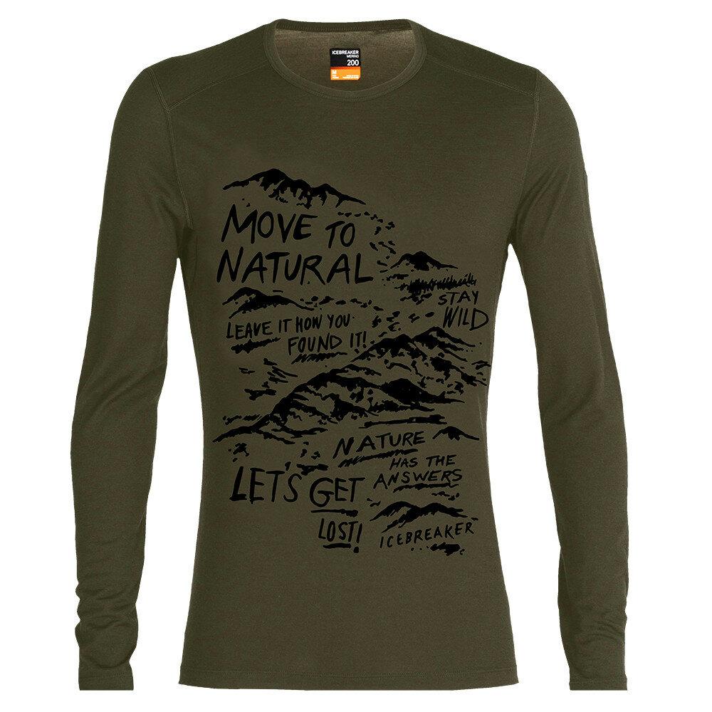 Merino pánské tričko Icebreaker 200 Oasis LS Crewe Travel Diaries - velikost L