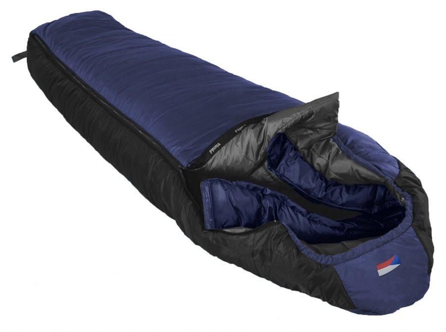 Modrý třísezónní spacák s pravým zipem MAKALU 220/80, Prima - délka 220 cm