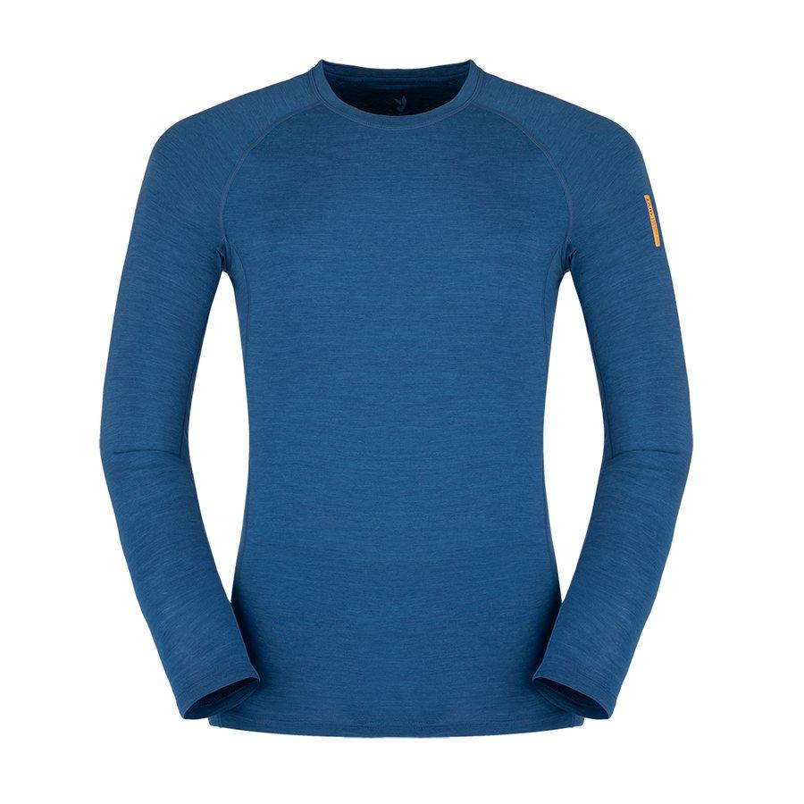 Modré merino pánské tričko Bjorn Merino Tshirt LS, Zajo - velikost M