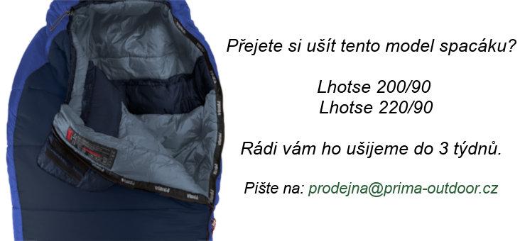 Černý zimní spacák s pravým zipem LHOTSE 220/90, Prima - délka 220 cm
