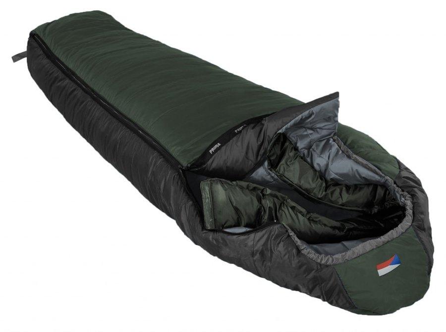 Zelený třísezónní spacák s pravým zipem MAKALU 200/80, Prima - délka 200 cm