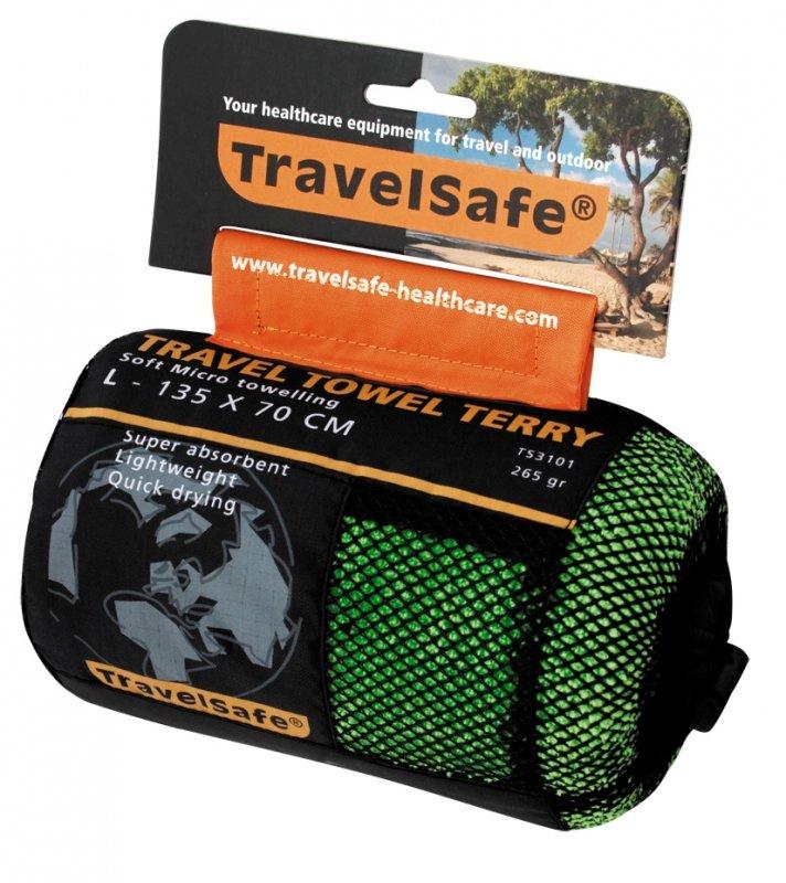 Zelený rychleschnoucí ručník Microfiber Terry Towel, TravelSafe - velikost L a 135x70 cm