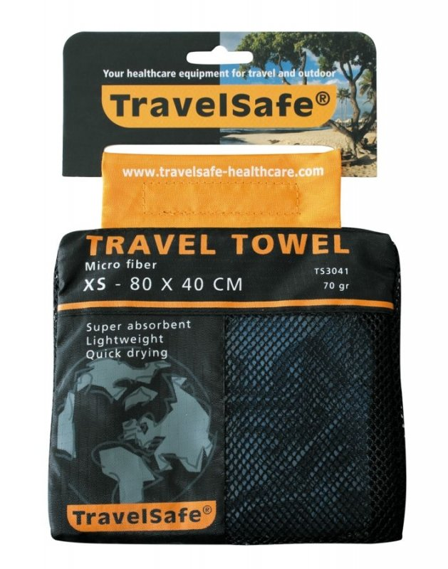 Modrý rychleschnoucí ručník Microfiber Towel, TravelSafe - velikost XS a 80x40 cm
