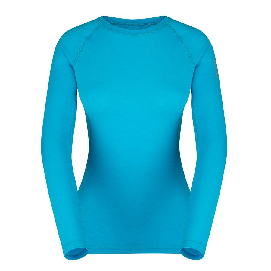 Modré dámské tričko s dlouhým rukávem Elsa Merino W Tshirt LS, Zajo - velikost XS