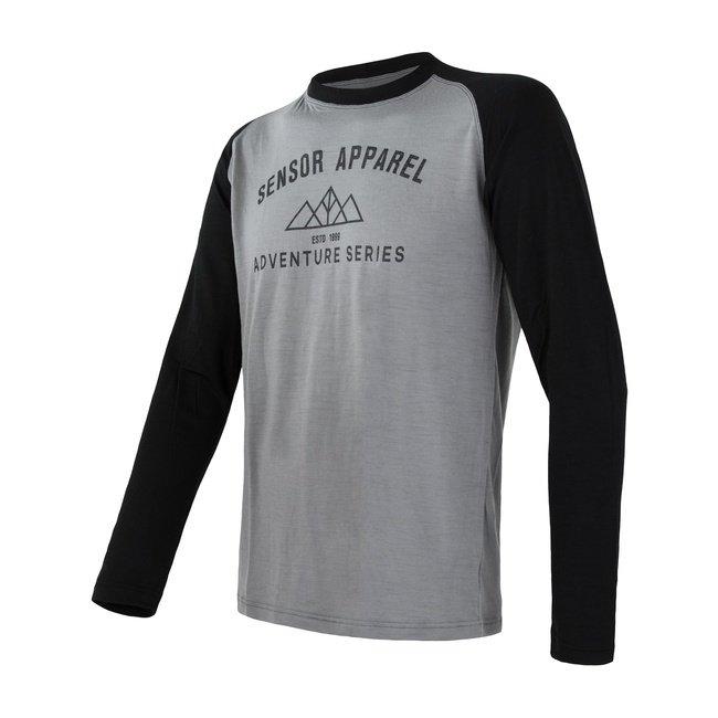 Šedé pánské tričko s dlouhým rukávem Sensor MERINO ACTIVE PT - velikost XL