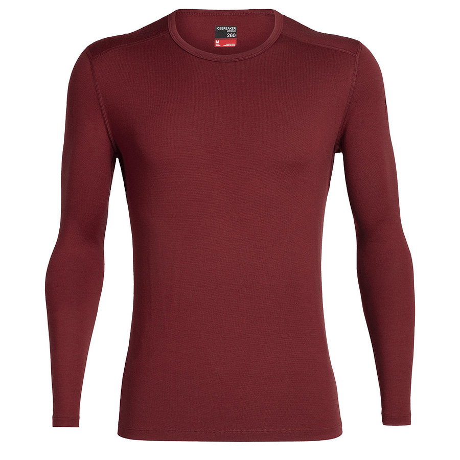 Červené merino pánské tričko Mens 260 Tech LS Crewe, Icebreaker