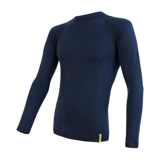 Modré merino pánské tričko MERINO DOUBLE FACE, Sensor