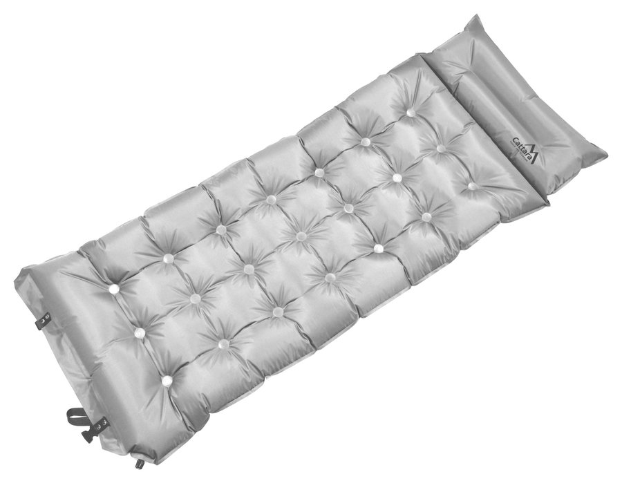 Stříbrná samonafukovací karimatka MIDNIGHT, Cattara - délka 188 cm, šířka 63 cm a tloušťka 6 cm