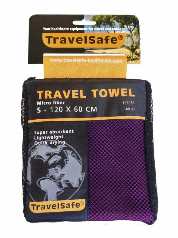 Fialový rychleschnoucí ručník Microfiber Towel, TravelSafe - velikost S a 120x60 cm