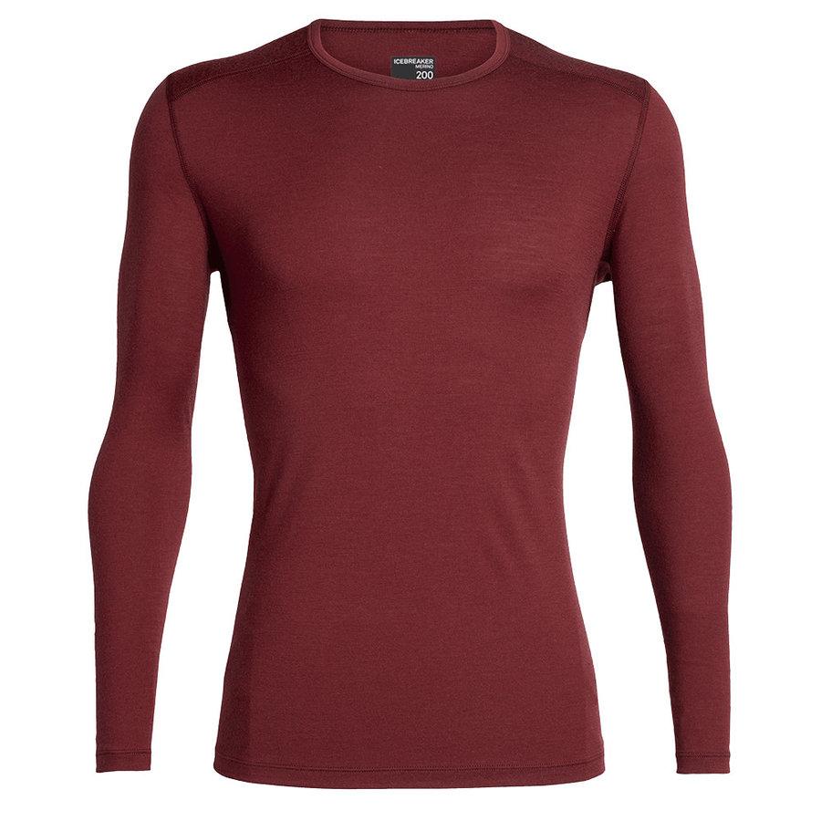 Červené merino pánské tričko Mens 200 Oasis LS Crewe, Icebreaker