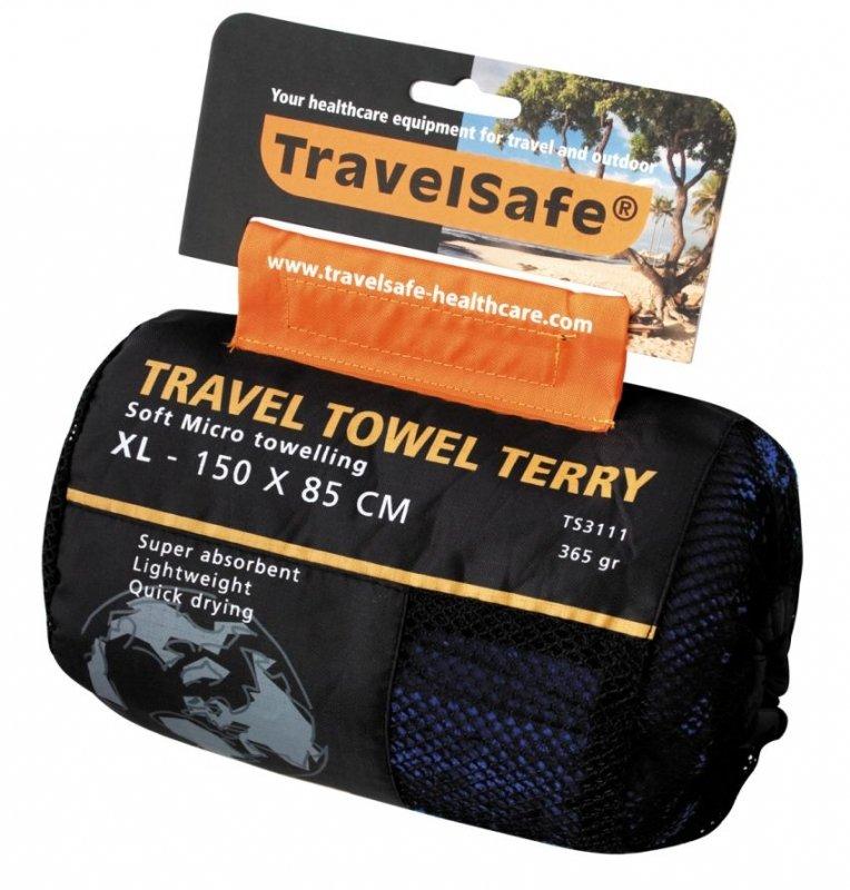 Modrý rychleschnoucí ručník Microfiber Terry Towel, TravelSafe - velikost XL a 150x85 cm