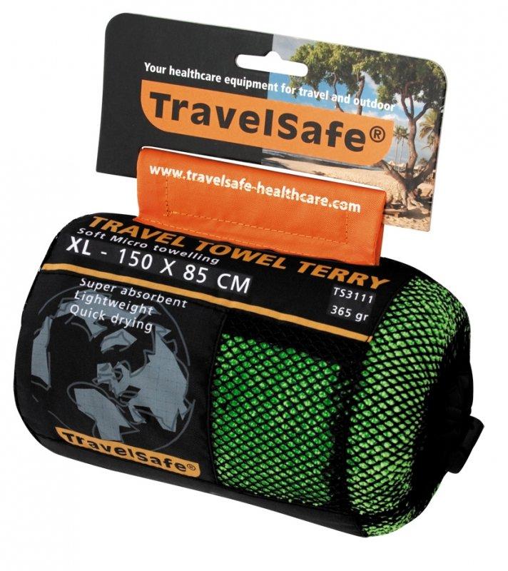 Zelený rychleschnoucí ručník Microfiber Terry Towel, TravelSafe - velikost XL a 150x85 cm