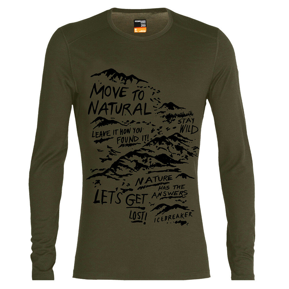 Merino pánské tričko Icebreaker 200 Oasis LS Crewe Travel Diaries - velikost M
