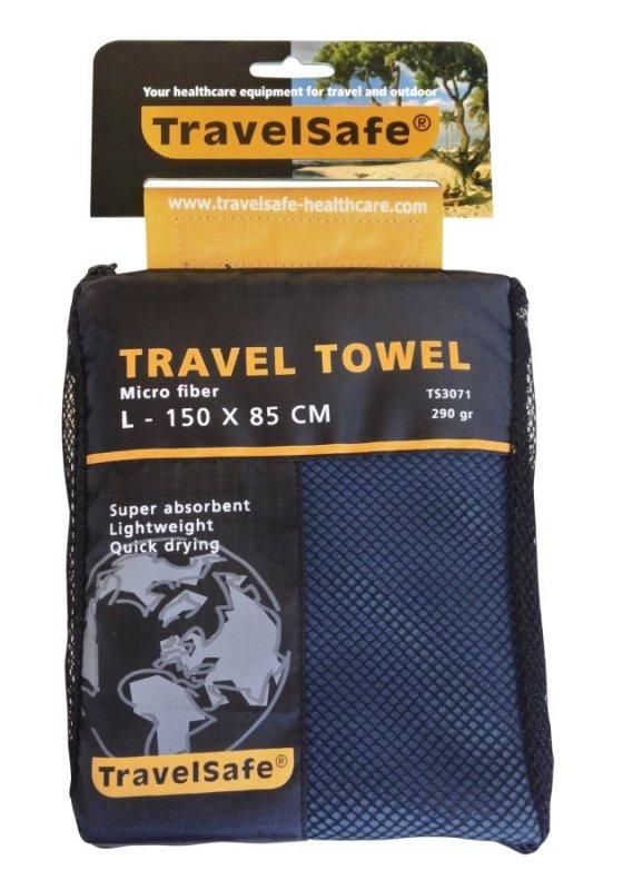 Modrý rychleschnoucí ručník Microfiber Towel, TravelSafe - velikost L a 150x85 cm