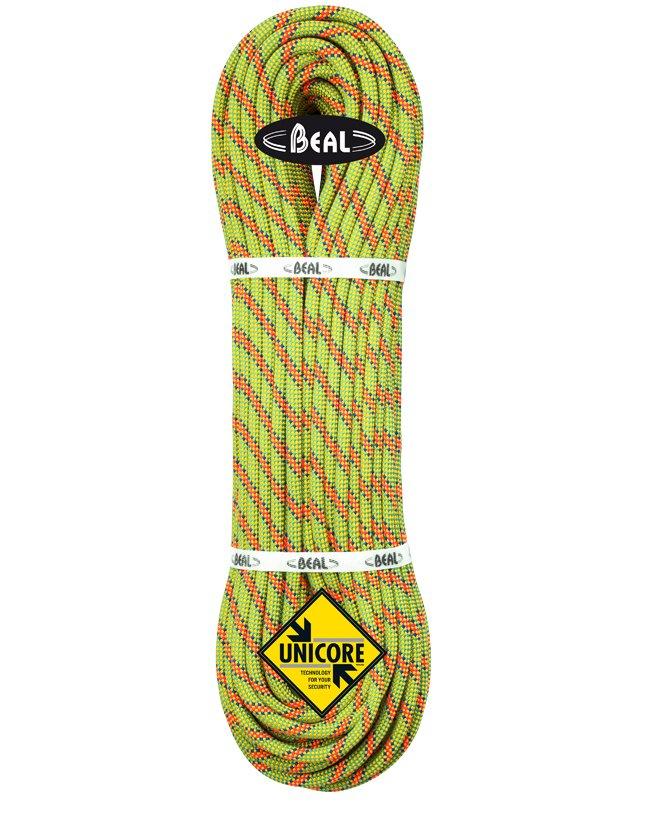 Žluté lano Booster Unicore, Beal - délka 60 m a tloušťka 9,7 mm