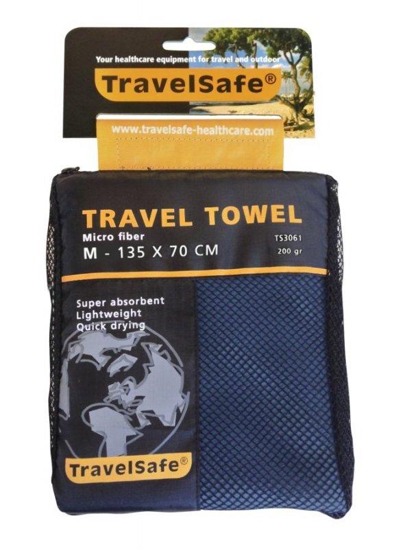 Modrý rychleschnoucí ručník TravelSafe Microfiber Towel - velikost M a 135x70 cm