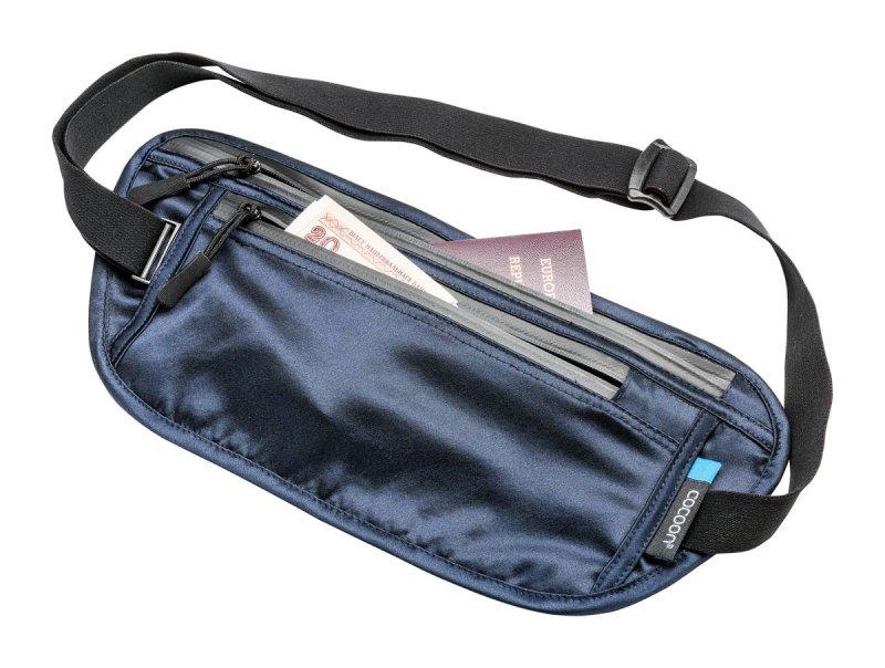 Modrá skrytá bezpečnostní ledvinka Secret Waist Wallet, Cocoon